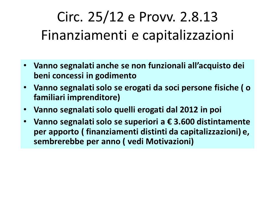 Circ. 25/12 e Provv. 2.8.13 Finanziamenti e capitalizzazioni Vanno segnalati anche se non funzionali allacquisto dei beni concessi in godimento Vanno