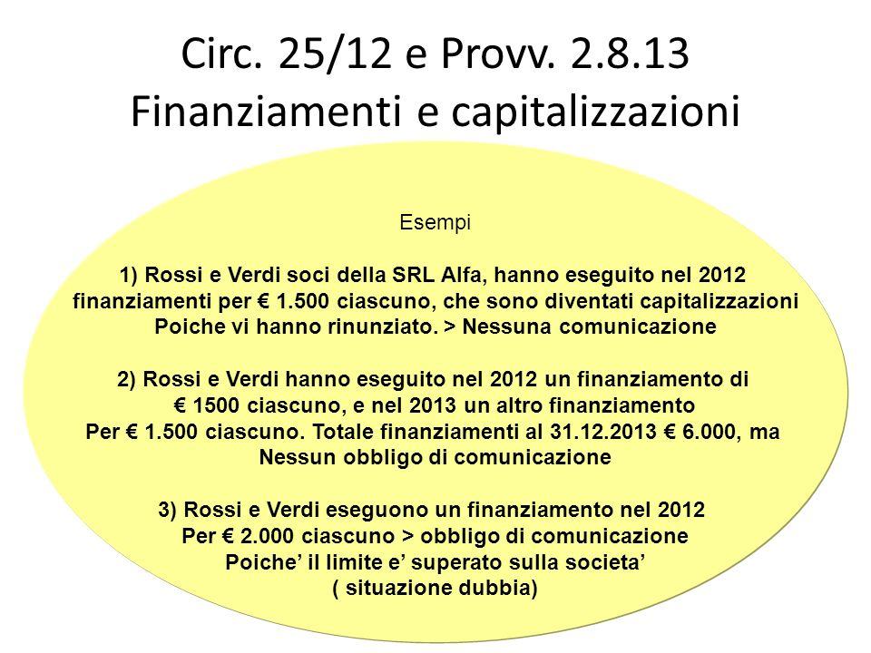 Circ. 25/12 e Provv. 2.8.13 Finanziamenti e capitalizzazioni Esempi 1) Rossi e Verdi soci della SRL Alfa, hanno eseguito nel 2012 finanziamenti per 1.