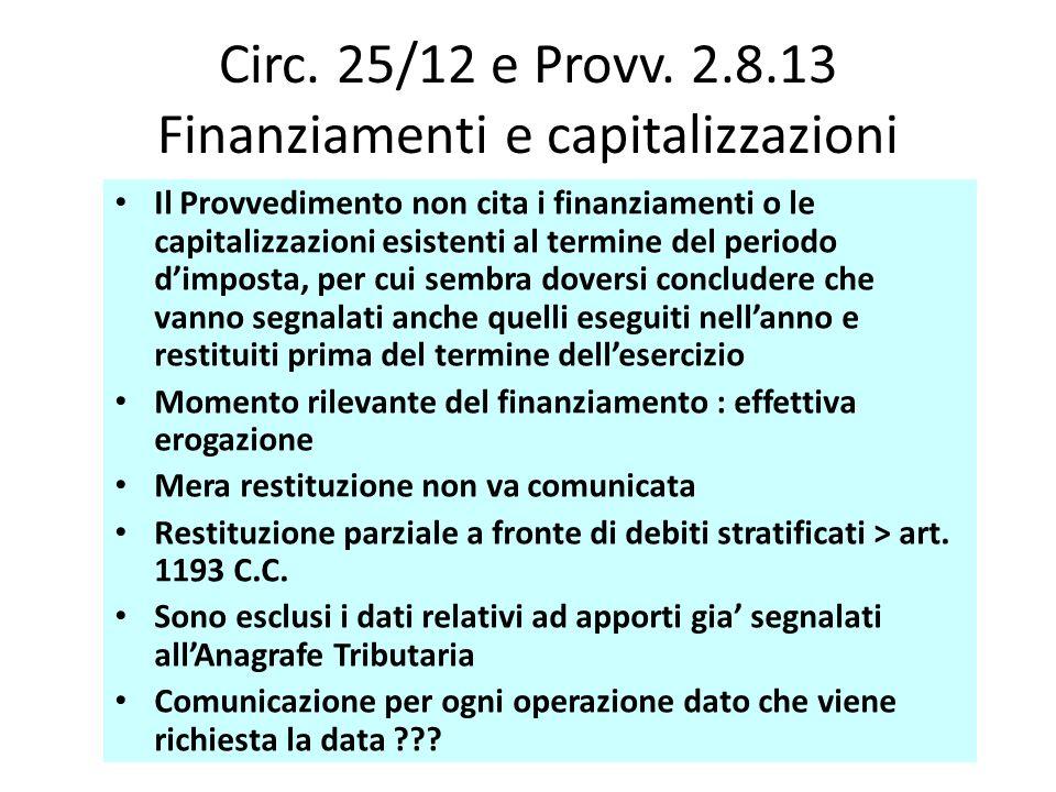 Circ. 25/12 e Provv. 2.8.13 Finanziamenti e capitalizzazioni Il Provvedimento non cita i finanziamenti o le capitalizzazioni esistenti al termine del