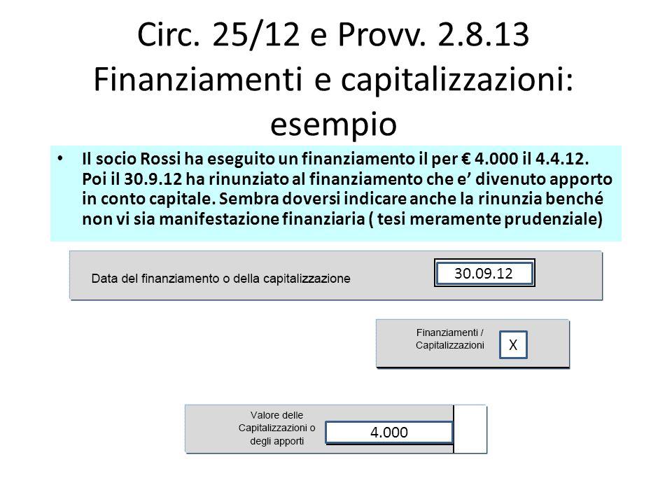 Circ. 25/12 e Provv. 2.8.13 Finanziamenti e capitalizzazioni: esempio Il socio Rossi ha eseguito un finanziamento il per 4.000 il 4.4.12. Poi il 30.9.