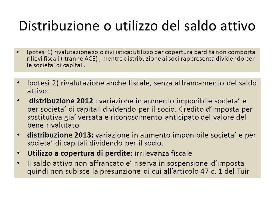 Distribuzione o utilizzo del saldo attivo Ipotesi 1) rivalutazione solo civilistica: utilizzo per copertura perdita non comporta rilievi fiscali ( tra