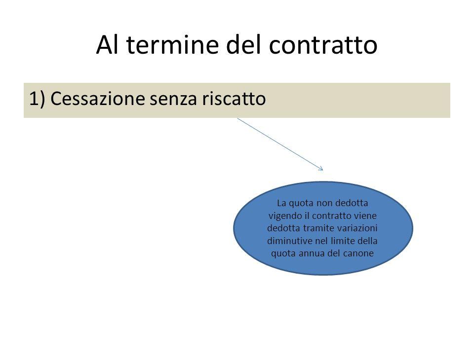 Al termine del contratto 1) Cessazione senza riscatto La quota non dedotta vigendo il contratto viene dedotta tramite variazioni diminutive nel limite