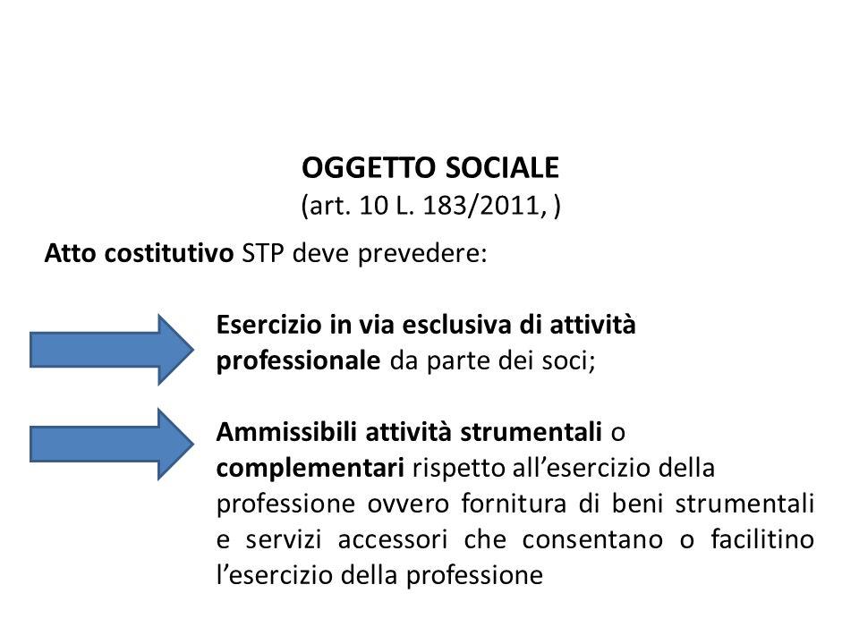OGGETTO SOCIALE (art. 10 L. 183/2011, ) Atto costitutivo STP deve prevedere: Esercizio in via esclusiva di attività professionale da parte dei soci; A