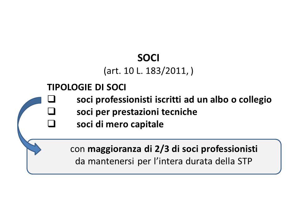 SOCI (art. 10 L. 183/2011, ) TIPOLOGIE DI SOCI soci professionisti iscritti ad un albo o collegio soci per prestazioni tecniche soci di mero capitale