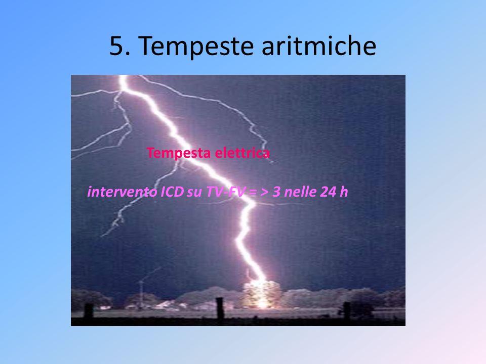 5. Tempeste aritmiche Tempesta elettrica intervento ICD su TV-FV = > 3 nelle 24 h
