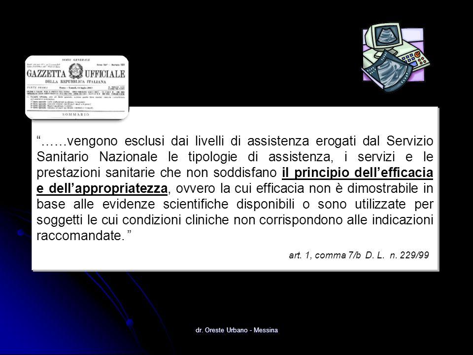 dr. Oreste Urbano - Messina ……vengono esclusi dai livelli di assistenza erogati dal Servizio Sanitario Nazionale le tipologie di assistenza, i servizi