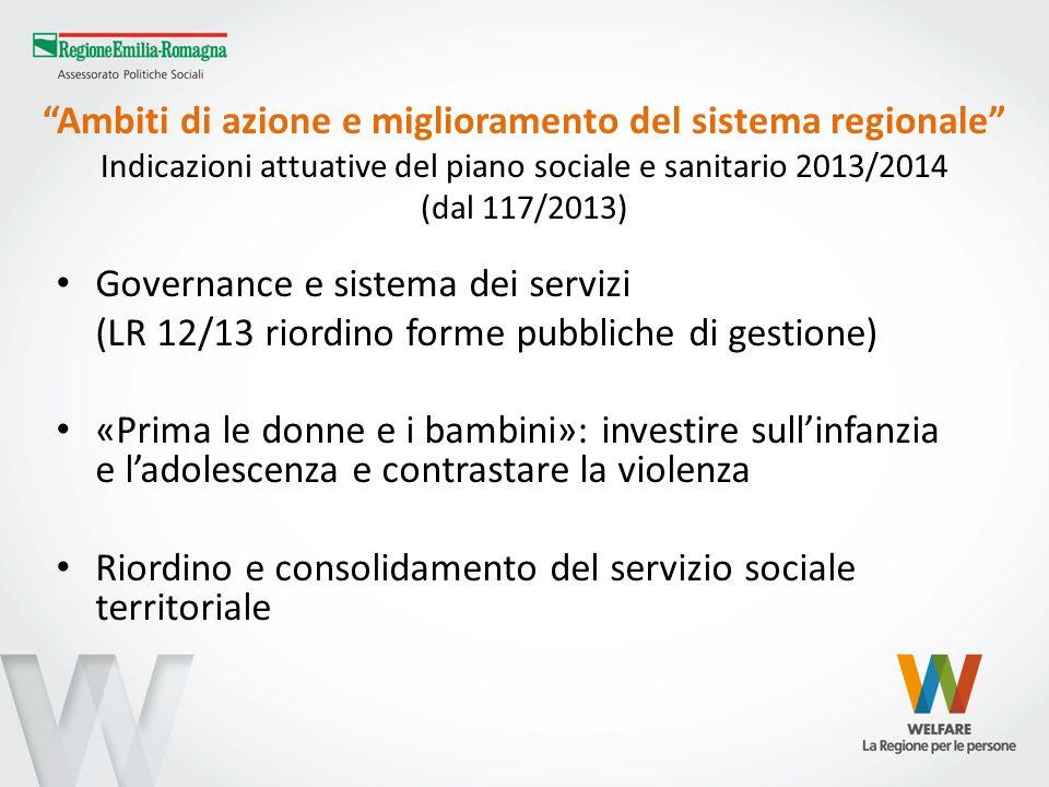 Ambiti di azione e miglioramento del sistema regionale Indicazioni attuative del piano sociale e sanitario 2013/2014 (dal 117/2013) Governance e siste