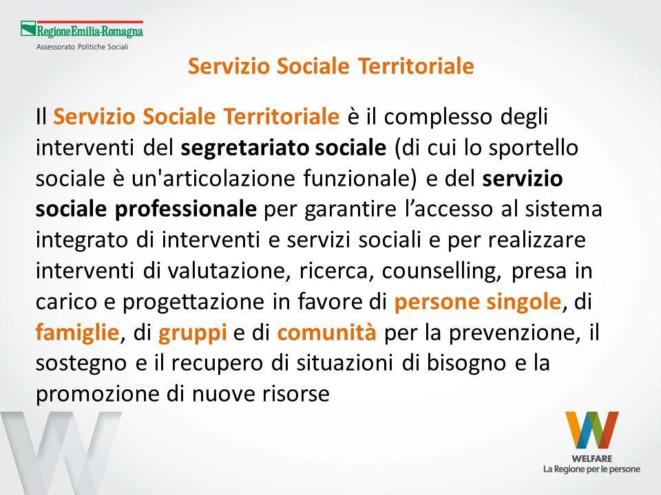 Servizio Sociale Territoriale Il Servizio Sociale Territoriale è il complesso degli interventi del segretariato sociale (di cui lo sportello sociale è