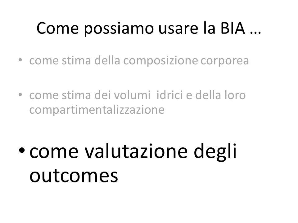 Come possiamo usare la BIA … come stima della composizione corporea come stima dei volumi idrici e della loro compartimentalizzazione come valutazione