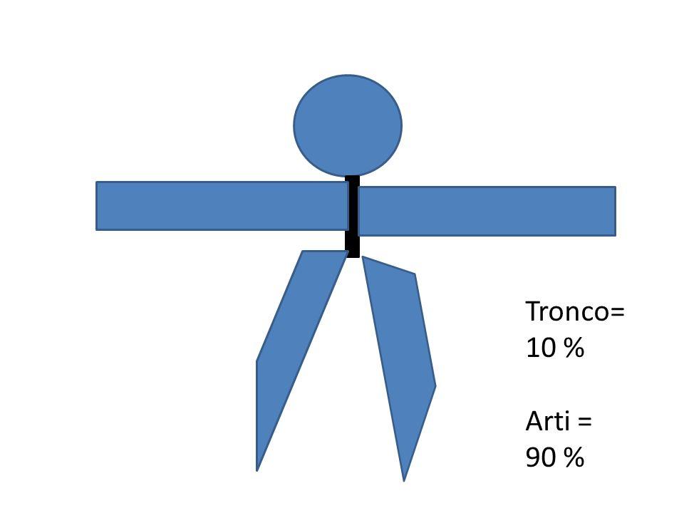 Tronco= 10 % Arti = 90 %