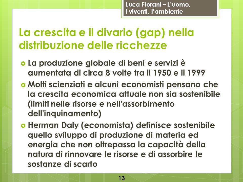 Luca Fiorani – Luomo, i viventi, lambiente La crescita e il divario (gap) nella distribuzione delle ricchezze La produzione globale di beni e servizi