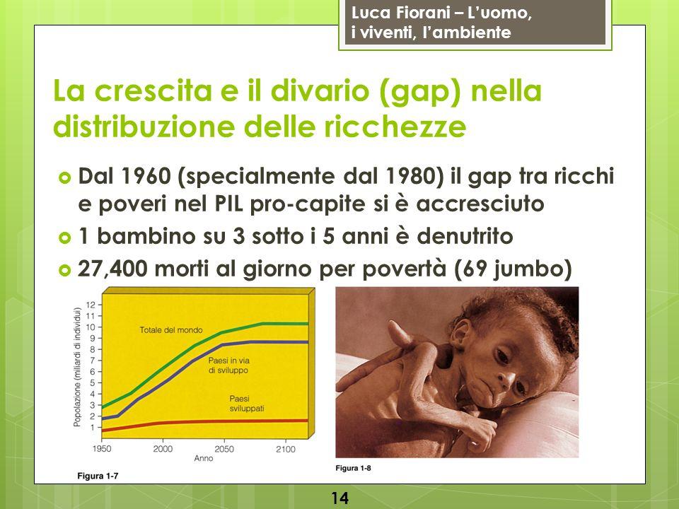 Luca Fiorani – Luomo, i viventi, lambiente La crescita e il divario (gap) nella distribuzione delle ricchezze Dal 1960 (specialmente dal 1980) il gap