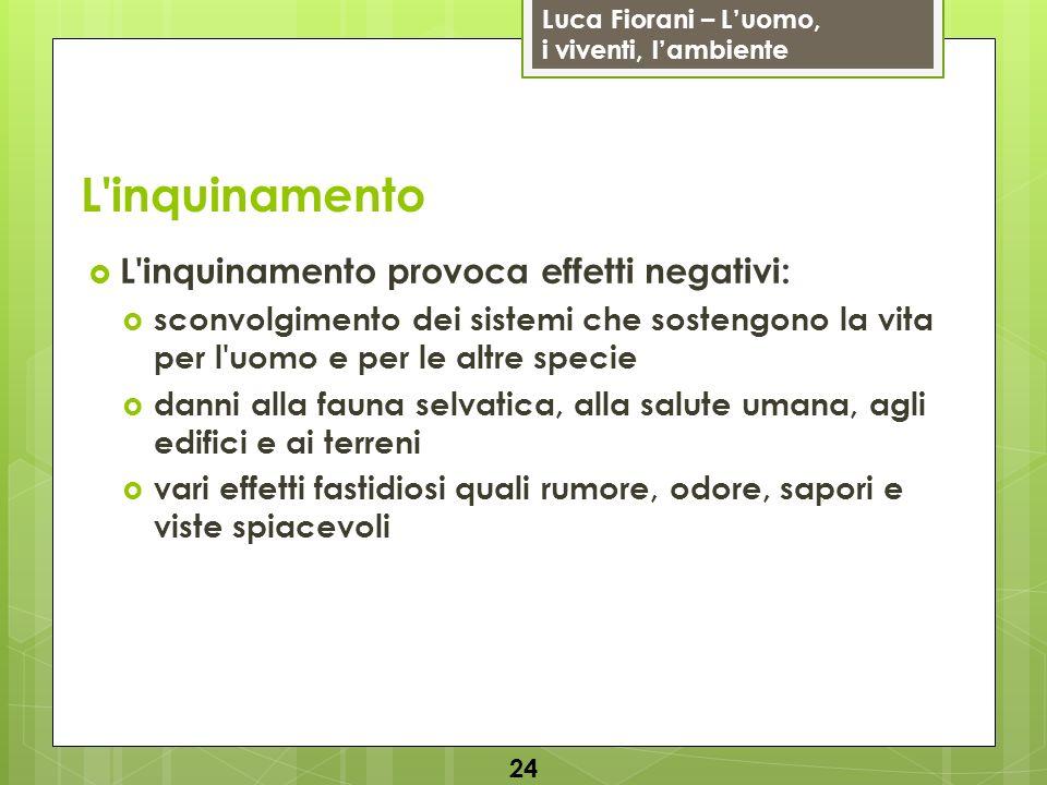 Luca Fiorani – Luomo, i viventi, lambiente L'inquinamento L'inquinamento provoca effetti negativi: sconvolgimento dei sistemi che sostengono la vita p
