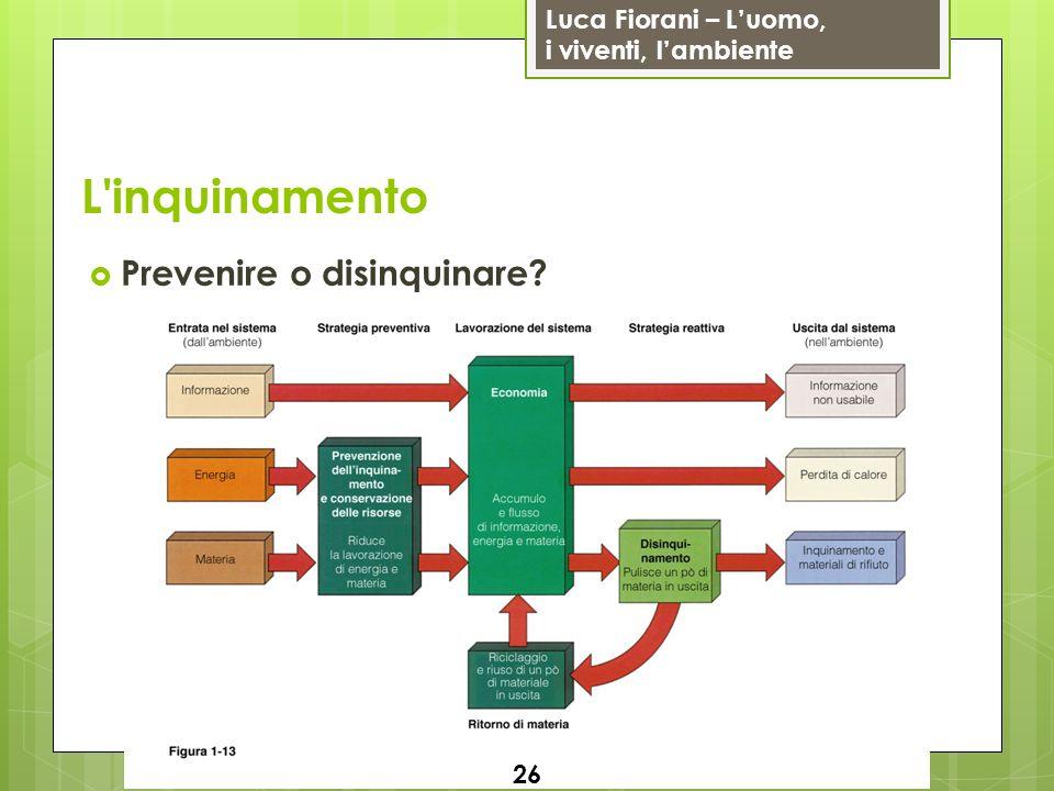 Luca Fiorani – Luomo, i viventi, lambiente L'inquinamento Prevenire o disinquinare? 26
