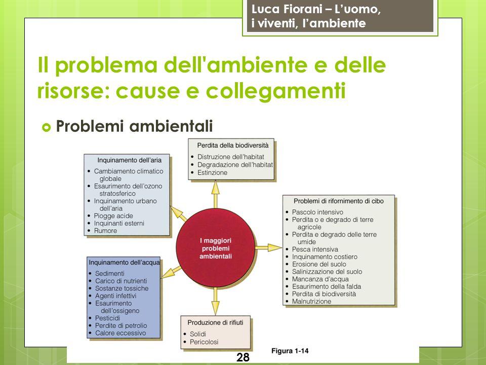 Luca Fiorani – Luomo, i viventi, lambiente Il problema dell'ambiente e delle risorse: cause e collegamenti Problemi ambientali 28
