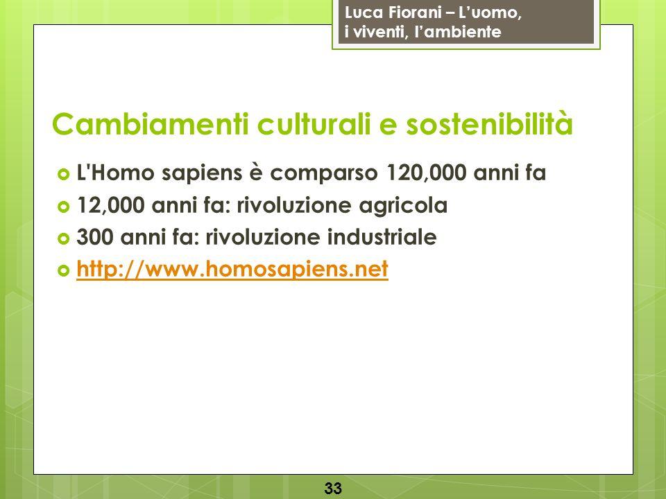 Luca Fiorani – Luomo, i viventi, lambiente Cambiamenti culturali e sostenibilità L'Homo sapiens è comparso 120,000 anni fa 12,000 anni fa: rivoluzione