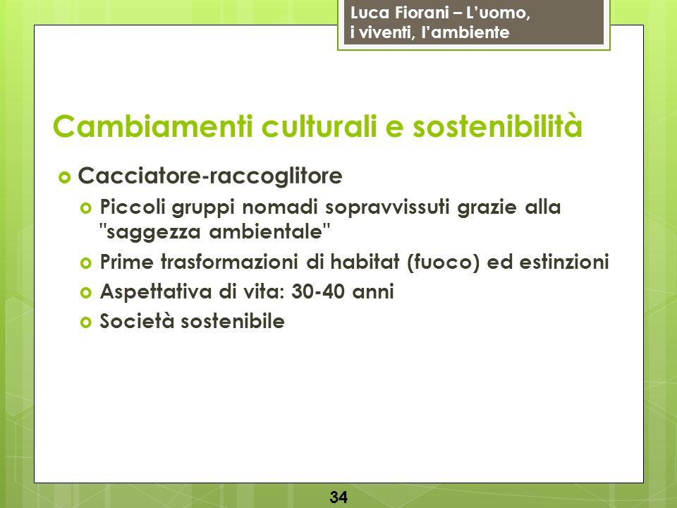 Luca Fiorani – Luomo, i viventi, lambiente Cambiamenti culturali e sostenibilità Cacciatore-raccoglitore Piccoli gruppi nomadi sopravvissuti grazie al