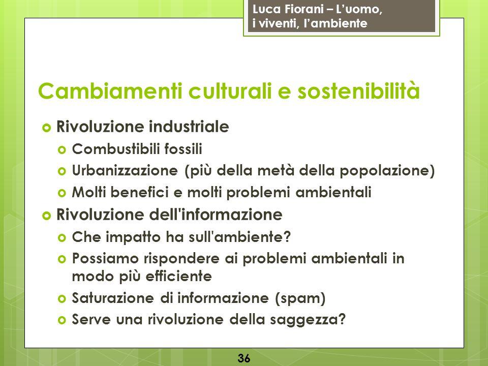 Luca Fiorani – Luomo, i viventi, lambiente Cambiamenti culturali e sostenibilità Rivoluzione industriale Combustibili fossili Urbanizzazione (più dell