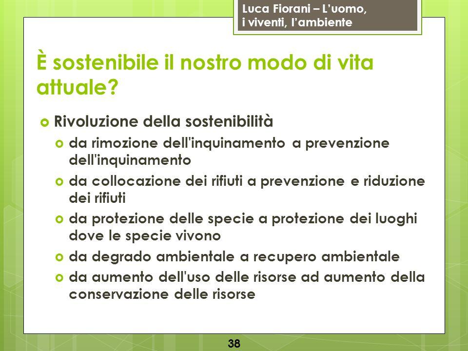 Luca Fiorani – Luomo, i viventi, lambiente È sostenibile il nostro modo di vita attuale? Rivoluzione della sostenibilità da rimozione dell'inquinament