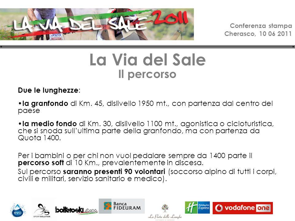 Conferenza stampa Cherasco, 10 06 2011 La Via del Sale Il percorso Due le lunghezze : la granfondo di Km.