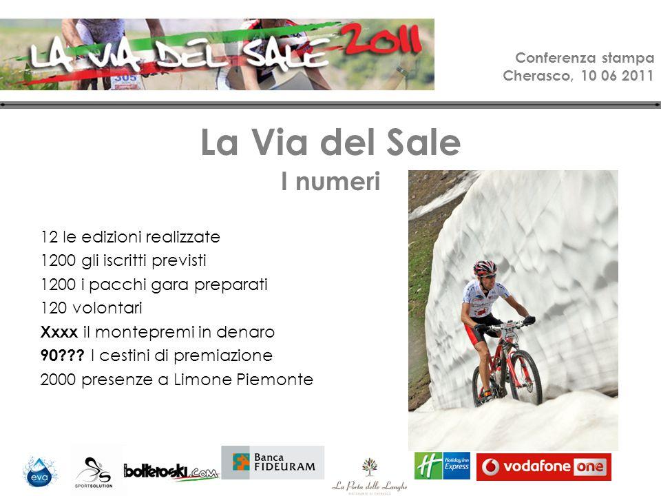 Conferenza stampa Cherasco, 10 06 2011 La Via del Sale I numeri 12 le edizioni realizzate 1200 gli iscritti previsti 1200 i pacchi gara preparati 120 volontari Xxxx il montepremi in denaro 90 .