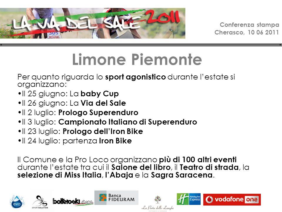 Conferenza stampa Cherasco, 10 06 2011 Limone holidays Escursioni in mountain bike sentieri alpini.
