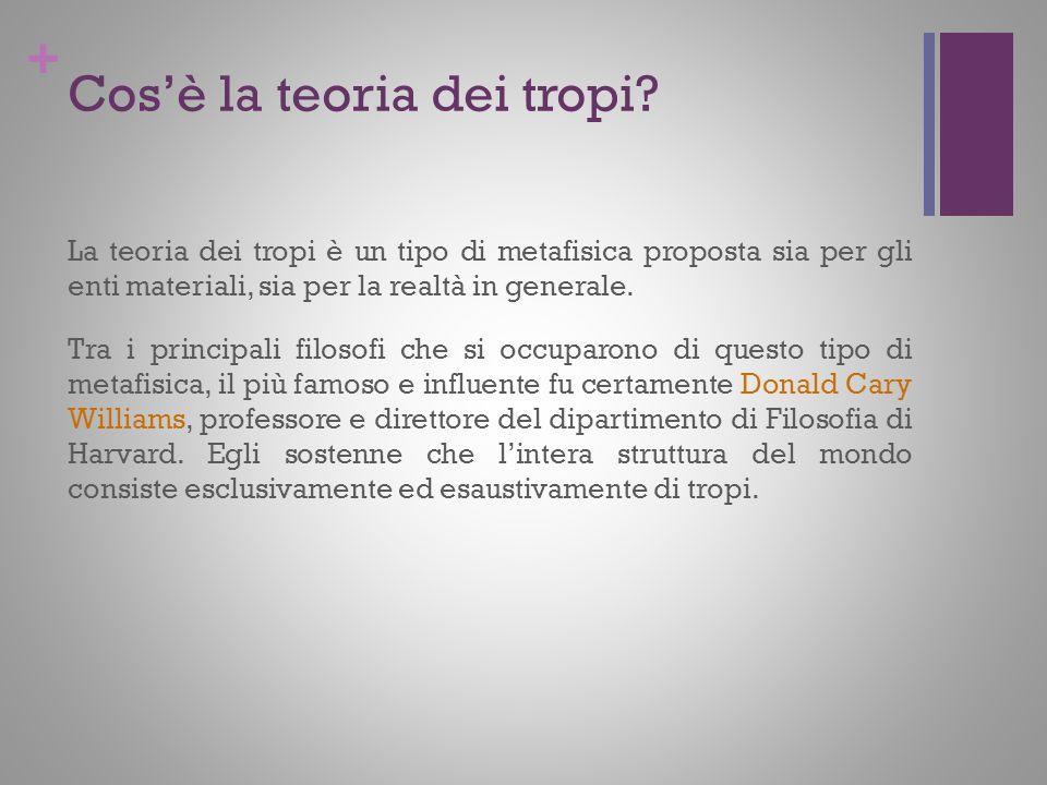+ Cosè la teoria dei tropi? La teoria dei tropi è un tipo di metafisica proposta sia per gli enti materiali, sia per la realtà in generale. Tra i prin
