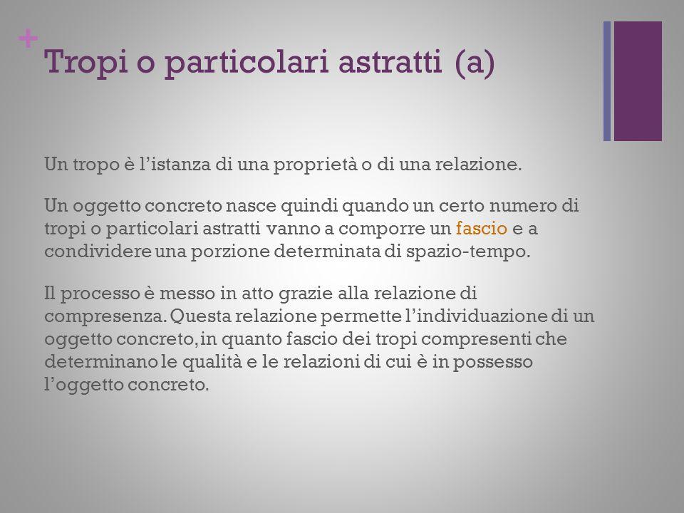 + Tropi o particolari astratti (a) Un tropo è listanza di una proprietà o di una relazione. Un oggetto concreto nasce quindi quando un certo numero di