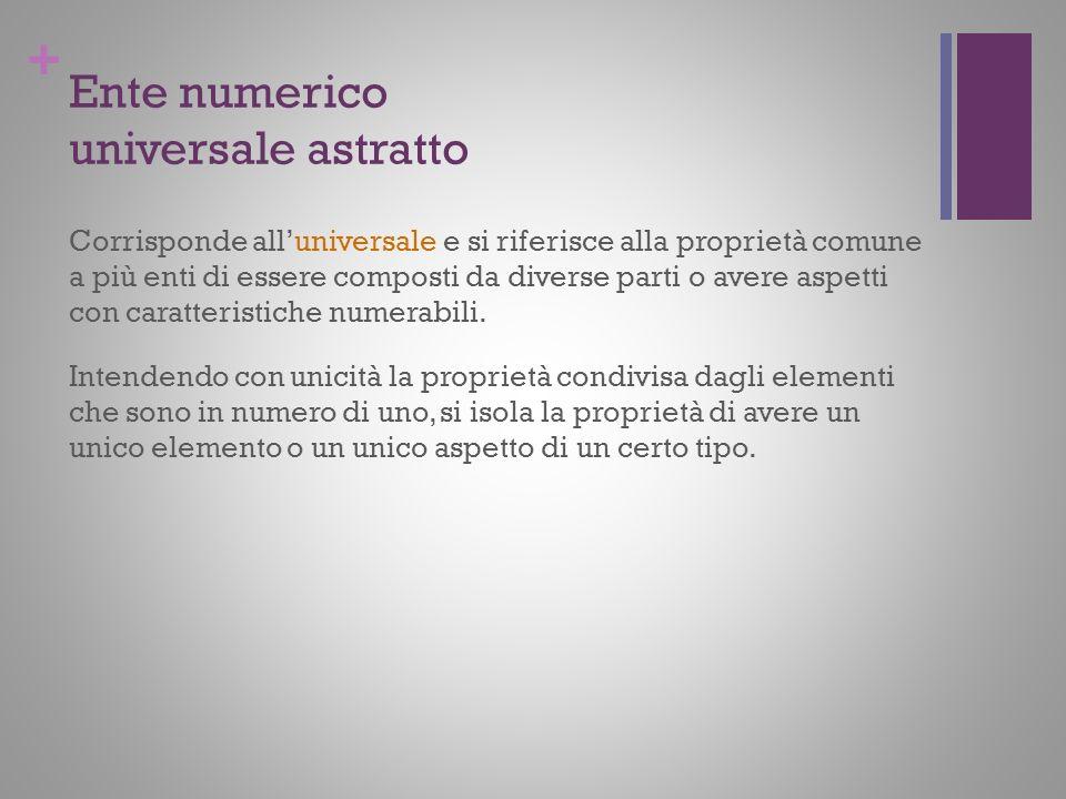 + Ente numerico universale astratto Corrisponde alluniversale e si riferisce alla proprietà comune a più enti di essere composti da diverse parti o av