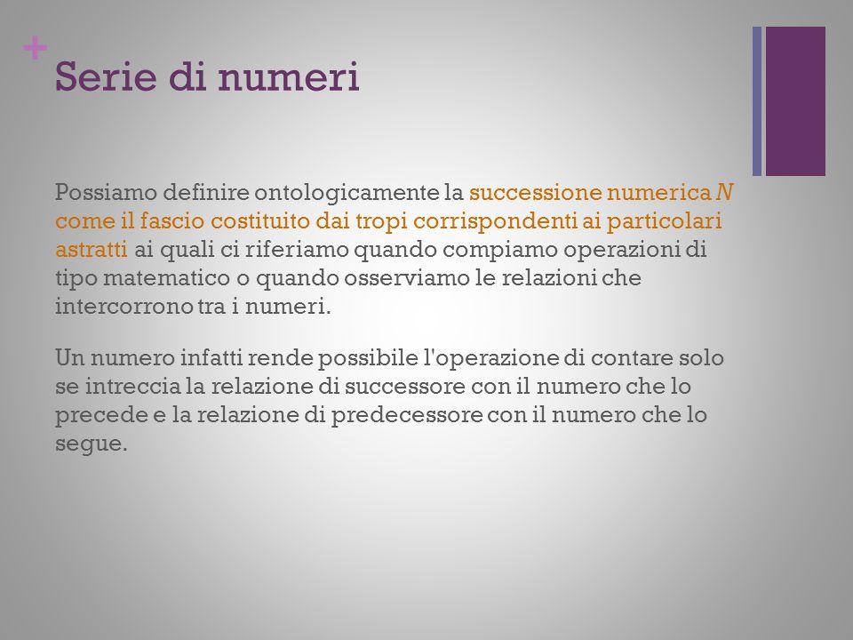 + Serie di numeri Possiamo definire ontologicamente la successione numerica N come il fascio costituito dai tropi corrispondenti ai particolari astrat