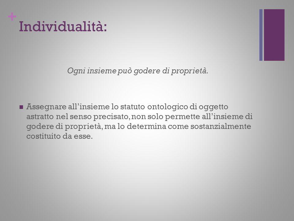 + Individualità: Ogni insieme può godere di proprietà. Assegnare allinsieme lo statuto ontologico di oggetto astratto nel senso precisato, non solo pe