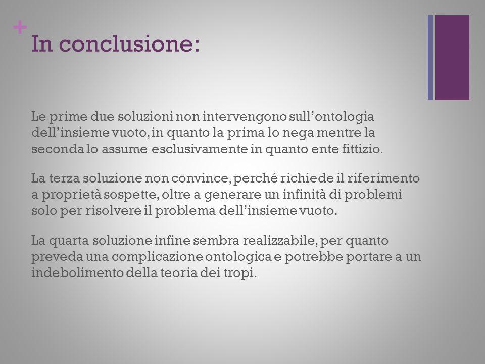 + In conclusione: Le prime due soluzioni non intervengono sullontologia dellinsieme vuoto, in quanto la prima lo nega mentre la seconda lo assume escl