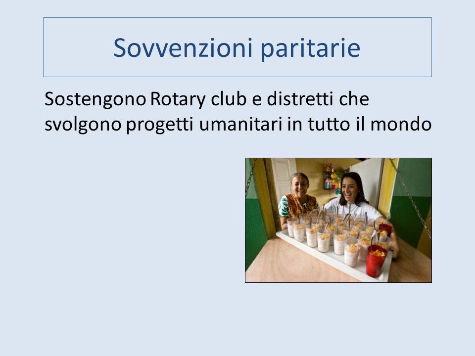 Sovvenzioni paritarie Sostengono Rotary club e distretti che svolgono progetti umanitari in tutto il mondo