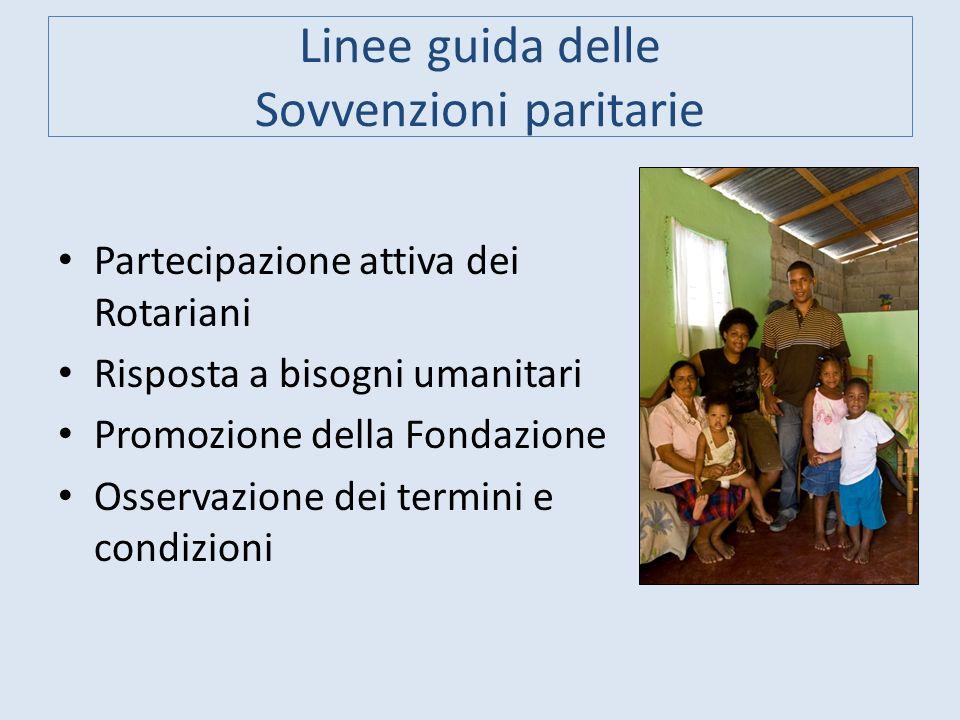 Linee guida delle Sovvenzioni paritarie Partecipazione attiva dei Rotariani Risposta a bisogni umanitari Promozione della Fondazione Osservazione dei