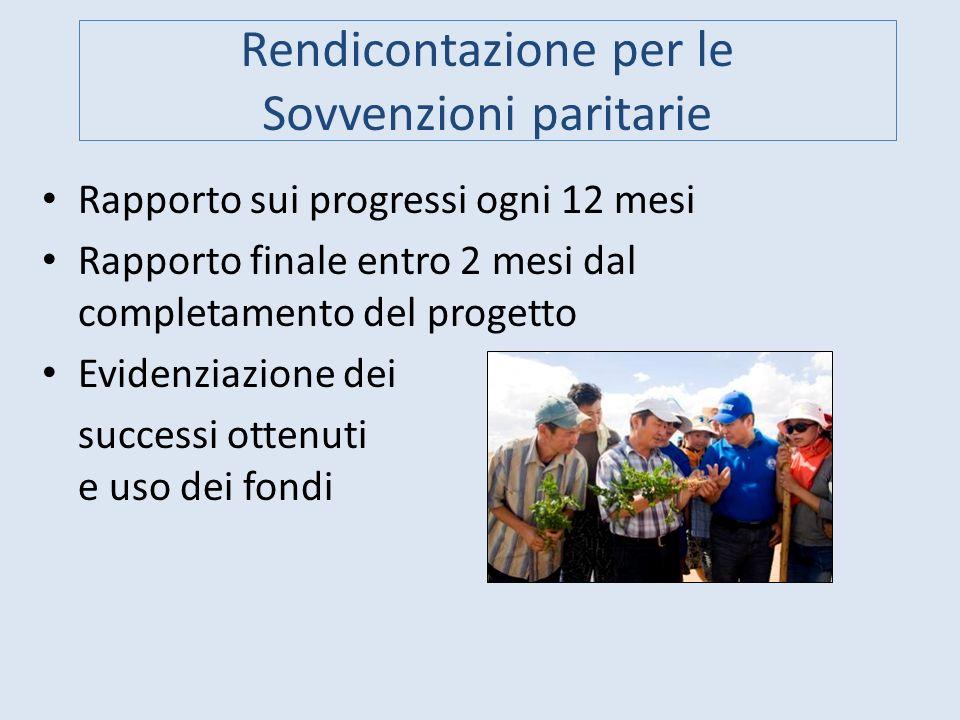Rendicontazione per le Sovvenzioni paritarie Rapporto sui progressi ogni 12 mesi Rapporto finale entro 2 mesi dal completamento del progetto Evidenzia
