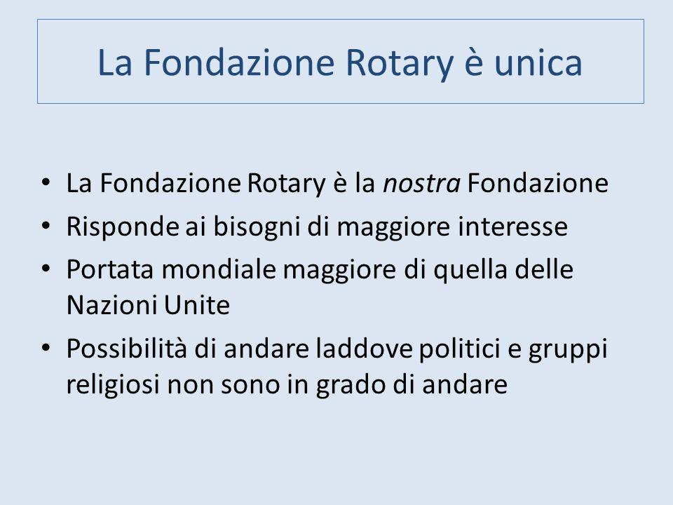 La Fondazione Rotary è unica La Fondazione Rotary è la nostra Fondazione Risponde ai bisogni di maggiore interesse Portata mondiale maggiore di quella