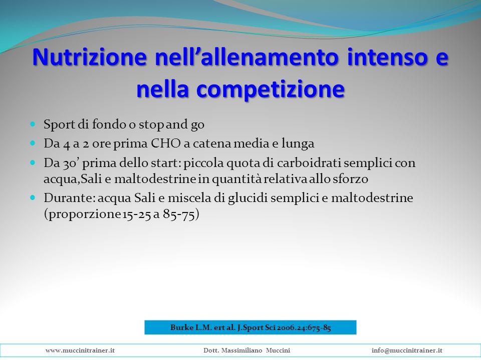 Nutrizione nellallenamento intenso e nella competizione Sport di fondo o stop and go Da 4 a 2 ore prima CHO a catena media e lunga Da 30 prima dello s