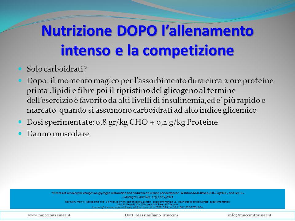 Nutrizione DOPO lallenamento intenso e la competizione Solo carboidrati? Dopo: il momento magico per lassorbimento dura circa 2 ore proteine prima,lip