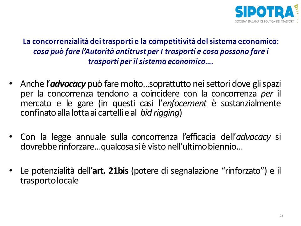 La concorrenzialità dei trasporti e la competitività del sistema economico: cosa può fare lAutorità antitrust per I trasporti e cosa possono fare i trasporti per il sistema economico….