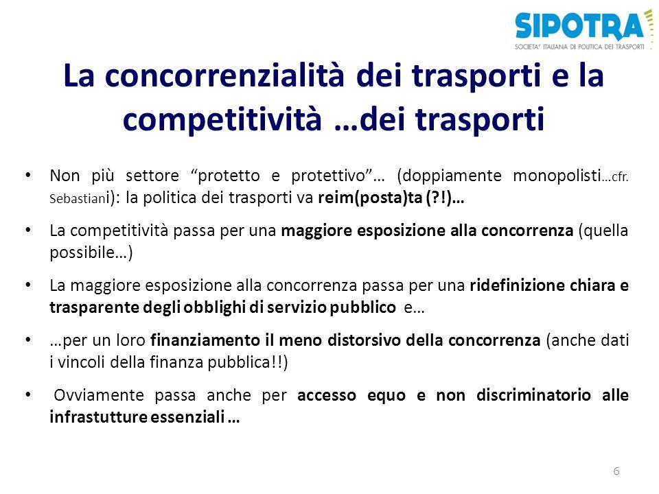 La concorrenzialità dei trasporti e la competitività …dei trasporti Non più settore protetto e protettivo… (doppiamente monopolisti …cfr.