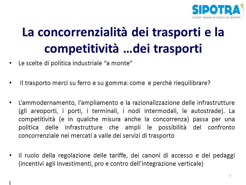 La concorrenzialità dei trasporti e la competitività …dei trasporti Le scelte di politica industriale a monte Il trasporto merci su ferro e su gomma: come e perchè riequilibrare.