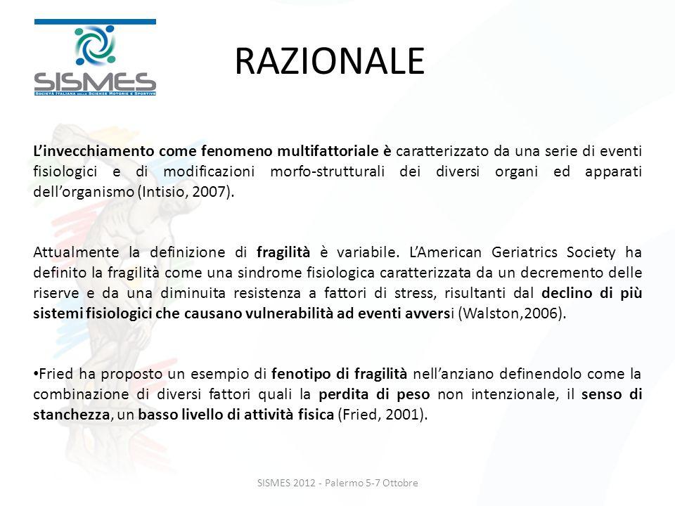SISMES 2012 - Palermo 5-7 Ottobre Linvecchiamento come fenomeno multifattoriale è caratterizzato da una serie di eventi fisiologici e di modificazioni