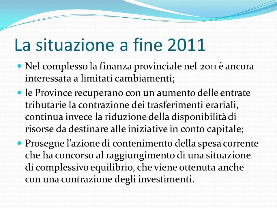 La situazione a fine 2011 Nel complesso la finanza provinciale nel 2011 è ancora interessata a limitati cambiamenti; le Province recuperano con un aum