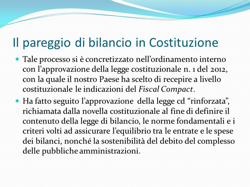 Il pareggio di bilancio in Costituzione Tale processo si è concretizzato nellordinamento interno con lapprovazione della legge costituzionale n. 1 del