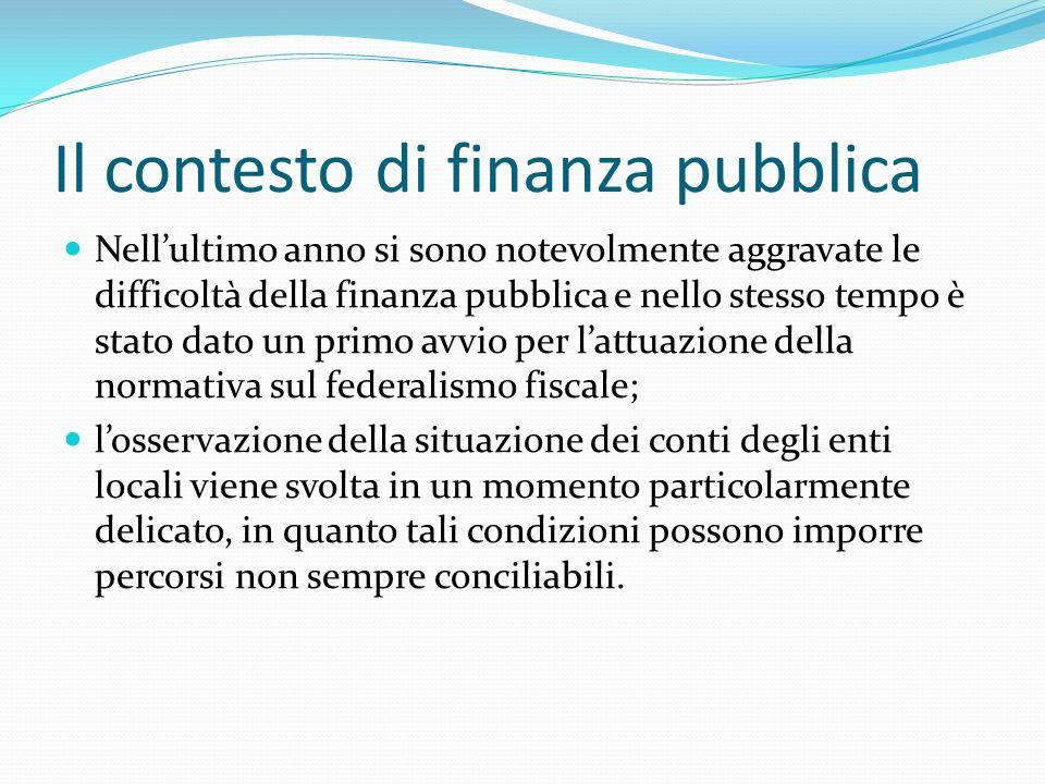 Il contesto di finanza pubblica Nellultimo anno si sono notevolmente aggravate le difficoltà della finanza pubblica e nello stesso tempo è stato dato