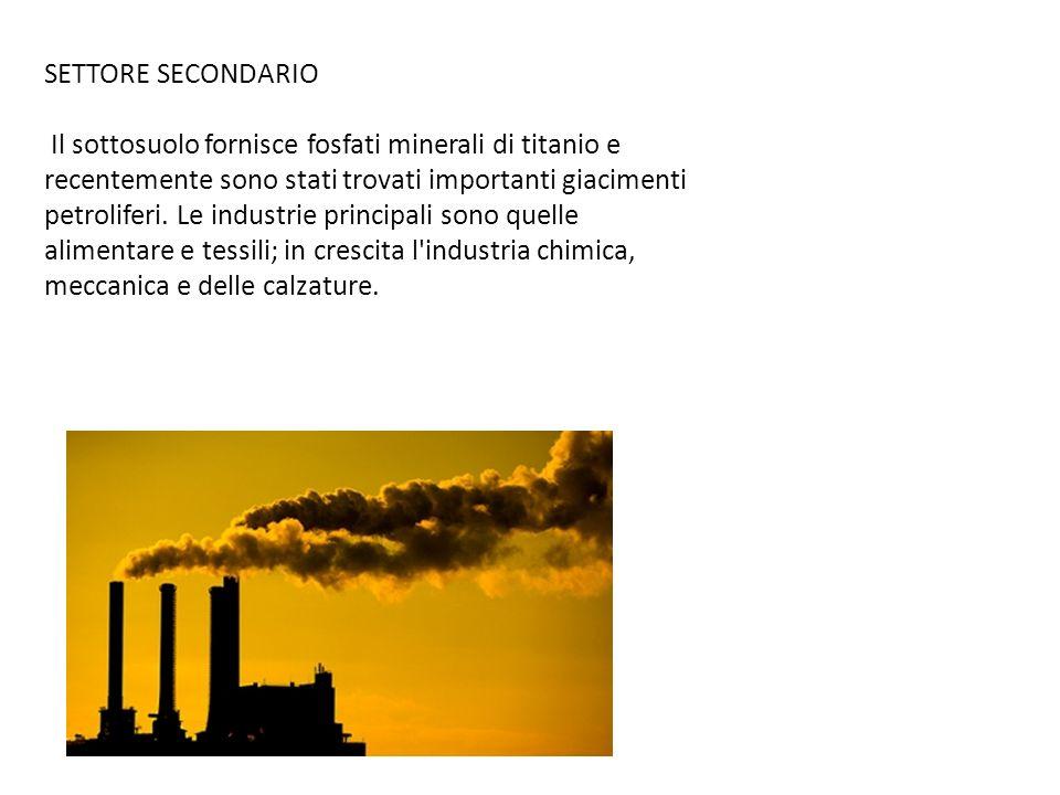 SETTORE SECONDARIO Il sottosuolo fornisce fosfati minerali di titanio e recentemente sono stati trovati importanti giacimenti petroliferi. Le industri