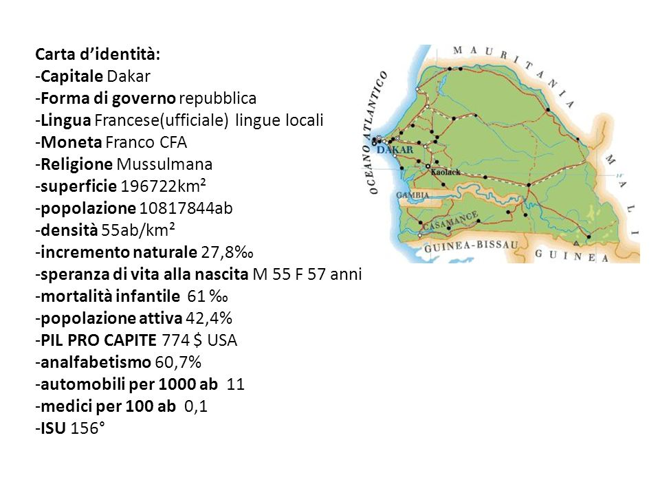 Carta didentità: -Capitale Dakar -Forma di governo repubblica -Lingua Francese(ufficiale) lingue locali -Moneta Franco CFA -Religione Mussulmana -supe