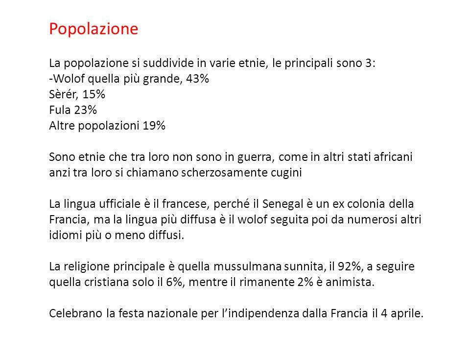 Popolazione La popolazione si suddivide in varie etnie, le principali sono 3: -Wolof quella più grande, 43% Sèrér, 15% Fula 23% Altre popolazioni 19%