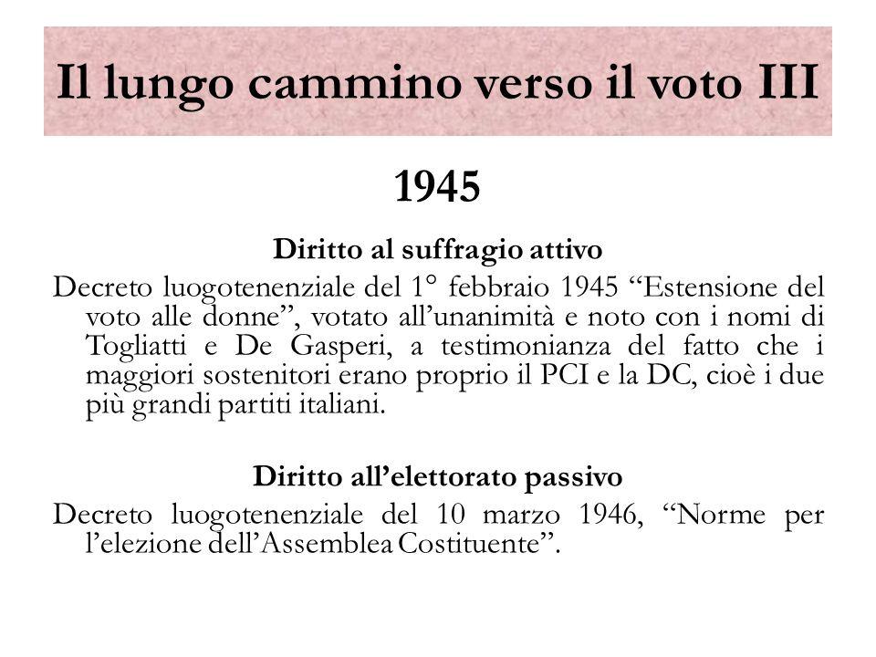 1945 Diritto al suffragio attivo Decreto luogotenenziale del 1° febbraio 1945 Estensione del voto alle donne, votato allunanimità e noto con i nomi di