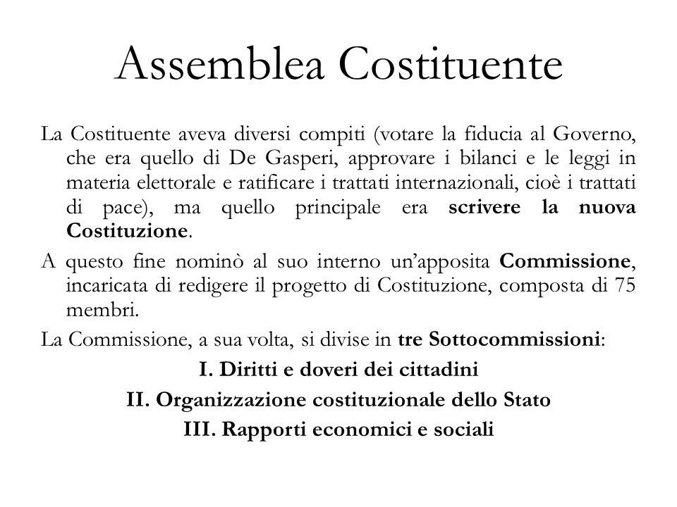 Assemblea Costituente La Costituente aveva diversi compiti (votare la fiducia al Governo, che era quello di De Gasperi, approvare i bilanci e le leggi